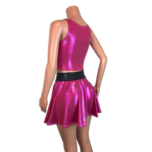 PowerPuff Girls BLOSSOM Costume W/ Pink Skater Skirt and Crop Top - Peridot Clothing