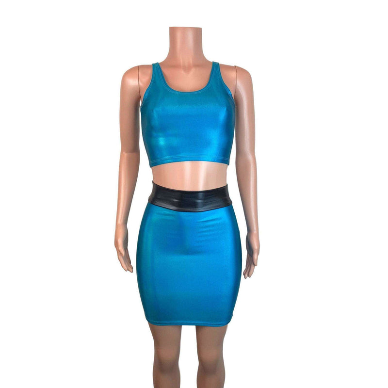 PowerPuff Girls BUBBLES Costume W/ Blue Pencil Skirt and Crop Top - Peridot Clothing