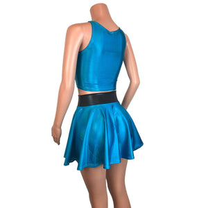 PowerPuff Girls BUBBLES Costume W/ Blue Skater Skirt and Crop Top - Peridot Clothing