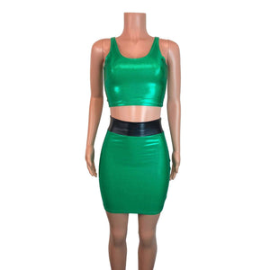 PowerPuff Girls BUTTERCUP Costume W/ Green Pencil Skirt and Crop Top - Peridot Clothing