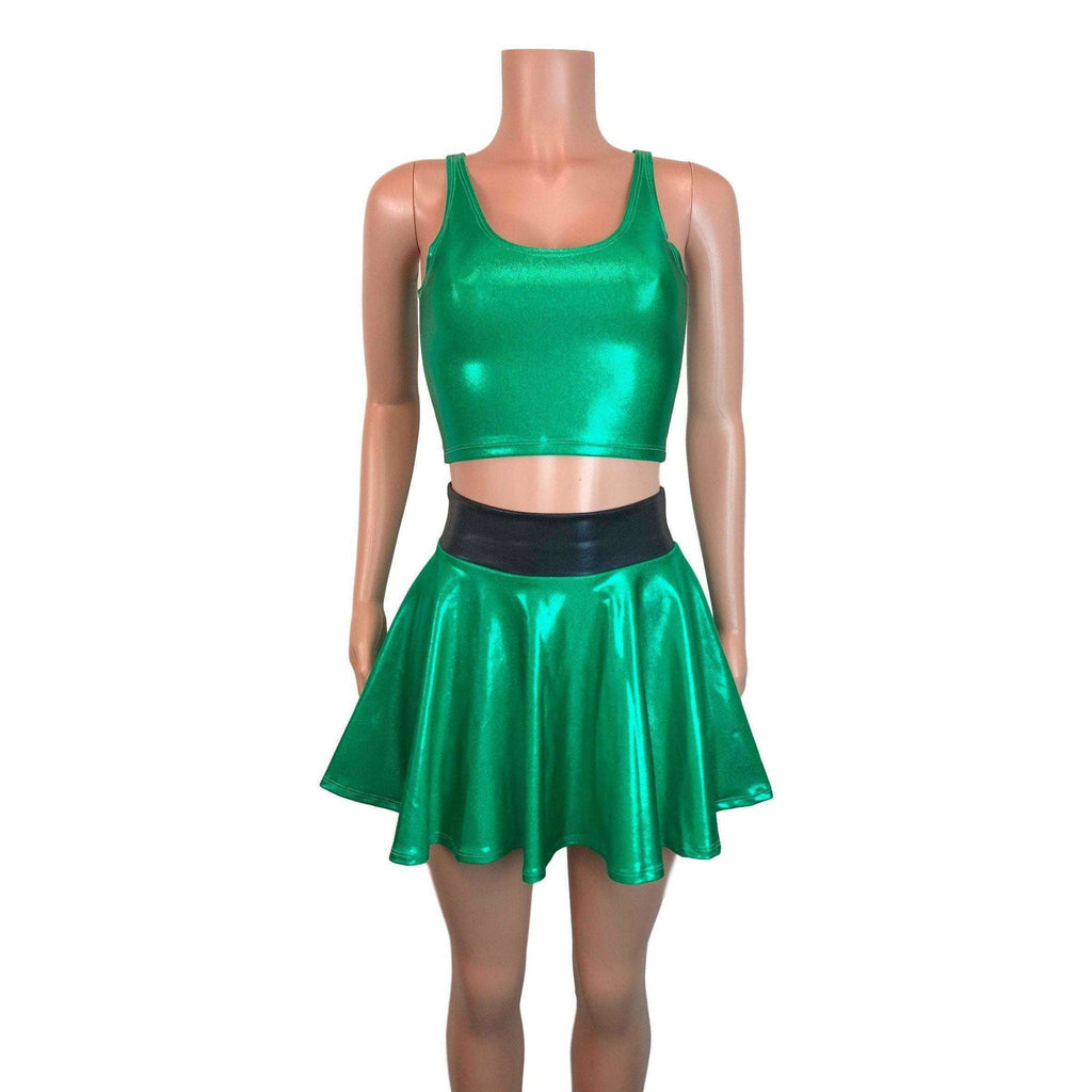 PowerPuff Girls BUTTERCUP Costume W/ Green Skater Skirt and Crop Top - Peridot Clothing