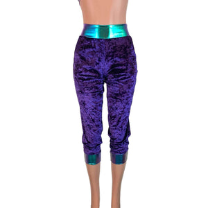 Purple Crushed Velvet/Oil Slick Joggers w/ Pockets - - Peridot Clothing