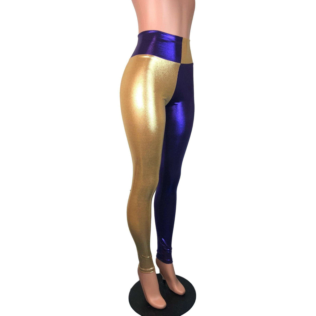 *Sample - Purple & Gold Sports Team Mystique Holographic High Waist Leggings Pants - Final Sale - Peridot Clothing