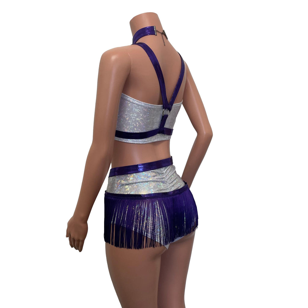 Fringe Harness Set in Purple Mystique Metallic | Cage Bra w/ Fringe Skirt and Choker - Peridot Clothing