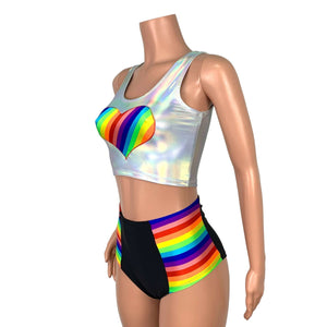 Rainbow Pride Heart Crop Top - Peridot Clothing