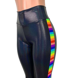 Rainbow Pride Holographic Leggings - High-Waisted - Peridot Clothing
