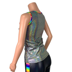 Rainbow Pride Holographic Tank Top - Peridot Clothing