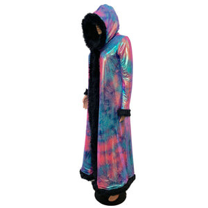 Rainbow Tie Dye w/ Black Fur Trim Festival Coat, Rave Coat - Peridot Clothing