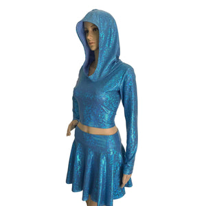 Rave Outfit - Blue Shattered Glass High Waisted Skater Skirt Oil & Long Sleeve Cropped Hoodie - Peridot Clothing