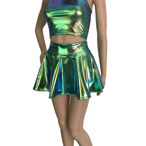 Rave Outfit - Oil Slick Holographic High Waisted Skater Skirt & Sleeveless Cropped Hoodie - Peridot Clothing