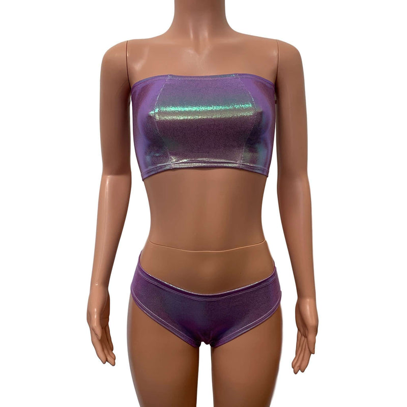 Rave Set - Lilac Iridescent Cheeky & Bandeau Outfit - Peridot Clothing