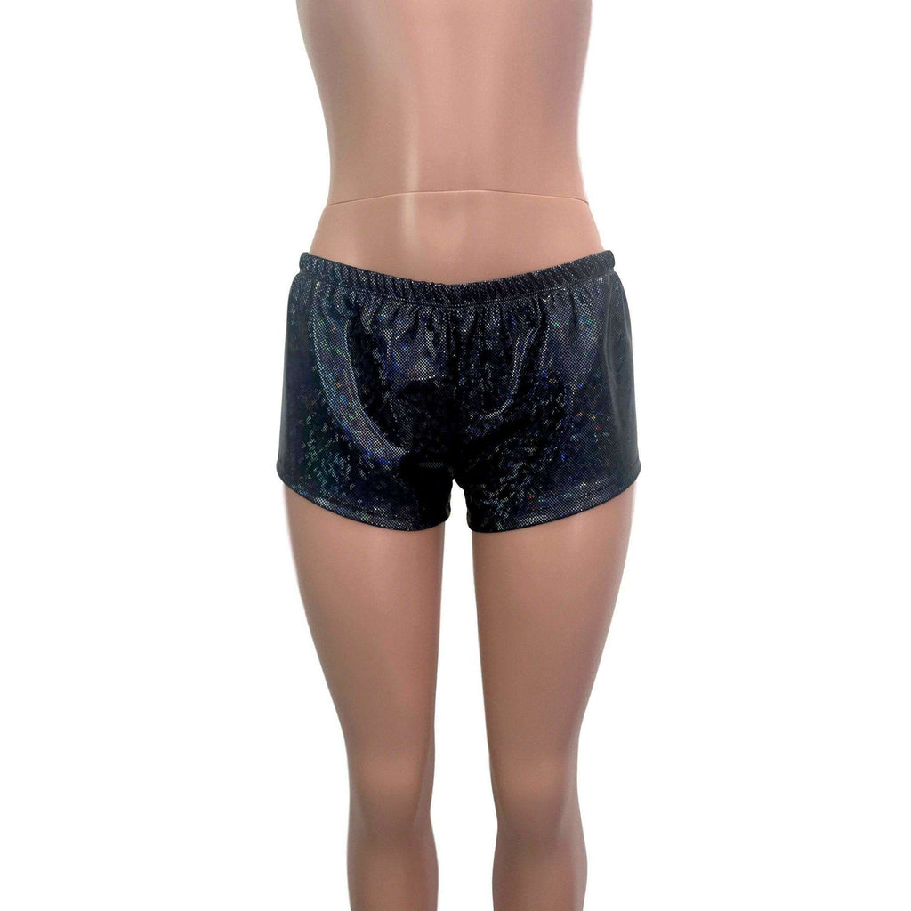 Rave Shorts - Black Shattered Glass Holographic - Peridot Clothing
