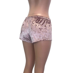 Rave Shorts - Dusty Pink Crushed Velvet - Peridot Clothing