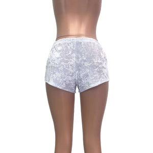 Rave Shorts - White Crushed Velvet - Peridot Clothing
