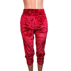 Red Crushed Velvet Joggers w/ Pockets - Peridot Clothing