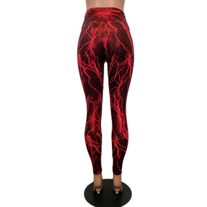 Red Lightning High Waist Leggings - Peridot Clothing