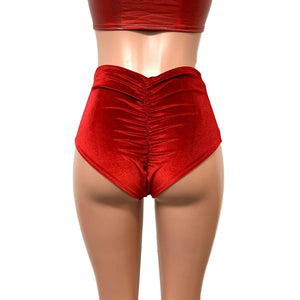Red Velvet High Waist Scrunch Bikini Bottom - Peridot Clothing