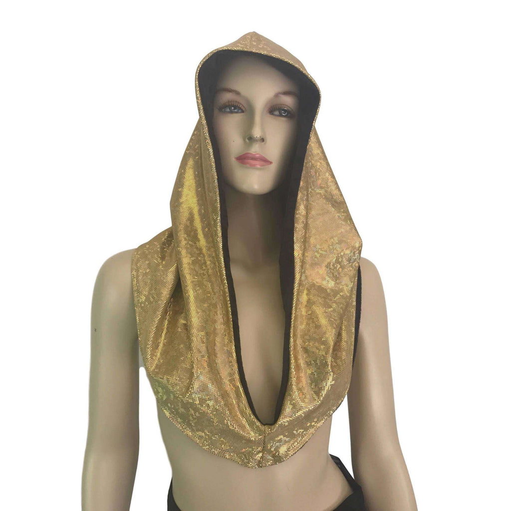 Reversible Gold Shattered Glass & Black Crushed Velvet Rave Hood - Peridot Clothing