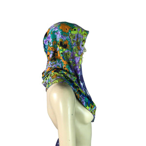 Reversible Splatter Print & Lilac Purple Mystique Metallic Rave Hood - Peridot Clothing