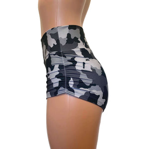 Ruched Booty Shorts - Black & Gray Camo,