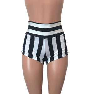 Ruched Booty Shorts - Black & White Stripe Scrunch Shorts - Peridot Clothing