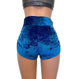 Ruched Booty Shorts - Blue Crushed Velvet Scrunch Shorts - Peridot Clothing