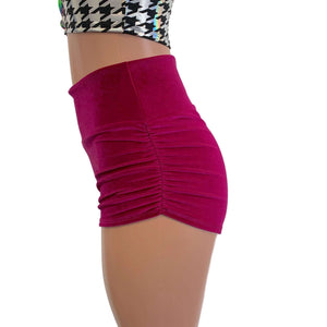 Ruched Booty Shorts - Fuchsia Pink Velvet Scrunch Shorts - Peridot Clothing