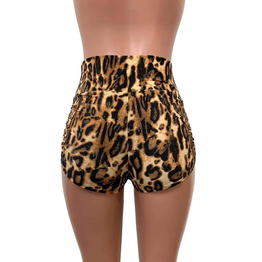 Ruched Booty Shorts - Leopard - Peridot Clothing