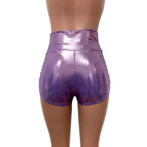 Ruched Booty Shorts - lilac Mystique Metallic - Peridot Clothing
