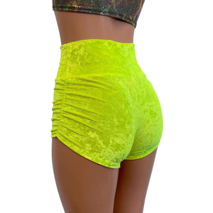 Ruched Booty Shorts - Neon Yellow Crushed Velvet Scrunch Shorts - Peridot Clothing