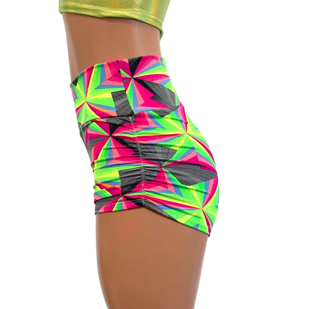 Ruched Booty Shorts - Optima Neon - Peridot Clothing