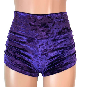 Ruched Booty Shorts - Purple Crushed Velvet - Peridot Clothing