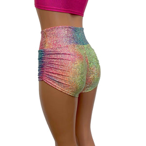 Ruched Booty Shorts - Rainbow Avatar - Peridot Clothing