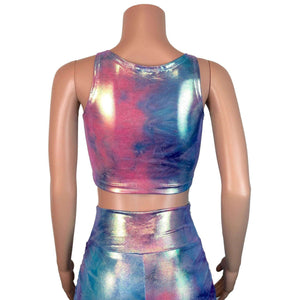 Ruched Crop Tank Top - Rainbow Mystique - Peridot Clothing