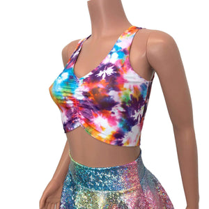 Ruched Crop Tank Top - Tie Dye Blitz - Peridot Clothing