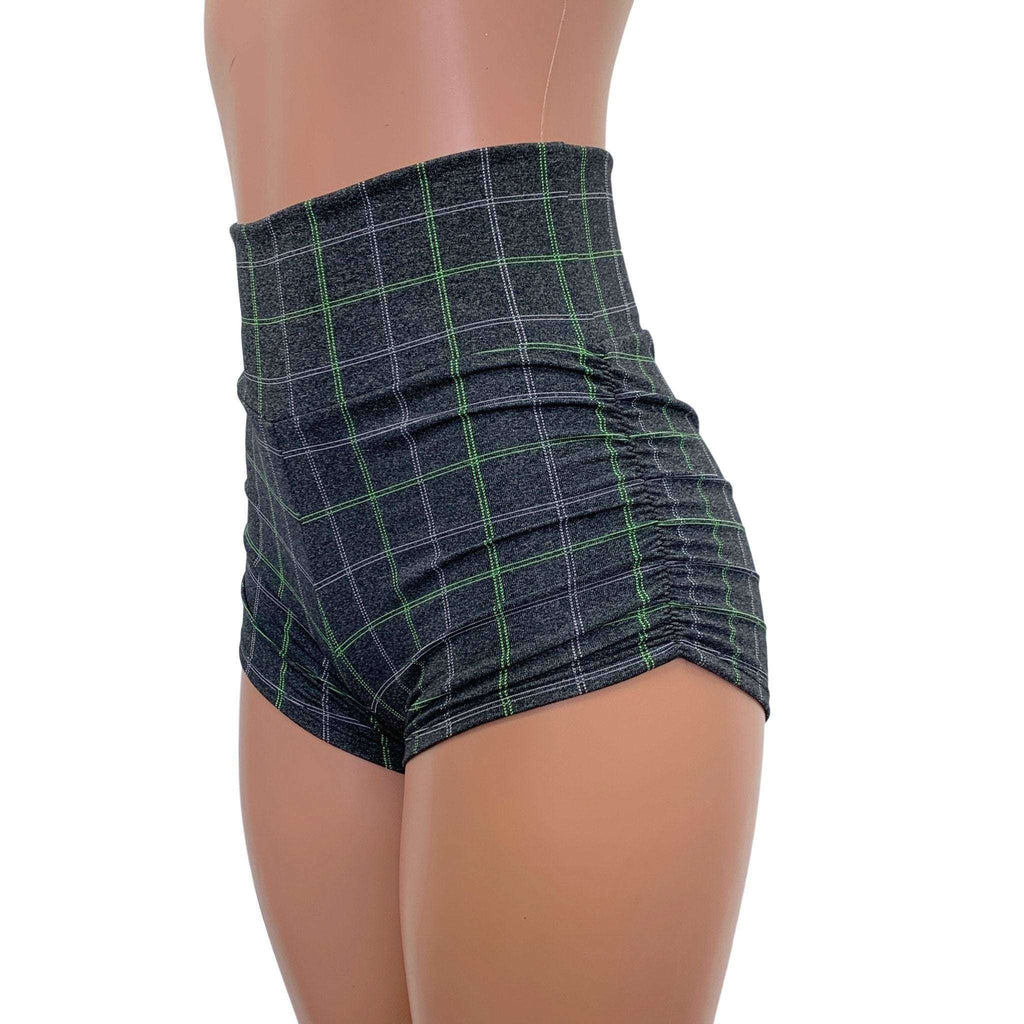 Ruched High Waist Booty Shorts - Soft Gray Plaid, women's shorts