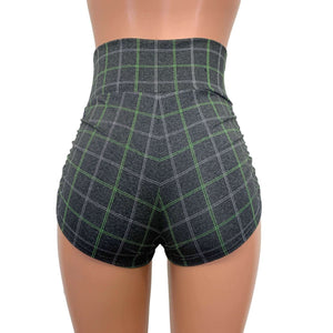 Ruched High Waist Booty Shorts - Soft Gray Plaid - Peridot Clothing