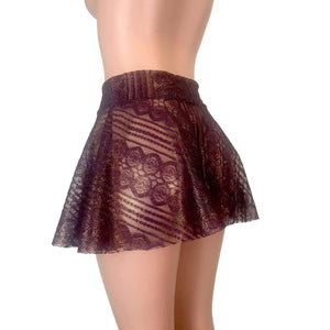 "13"" Skater Skirt - Purple Metallic Lace - Peridot Clothing"