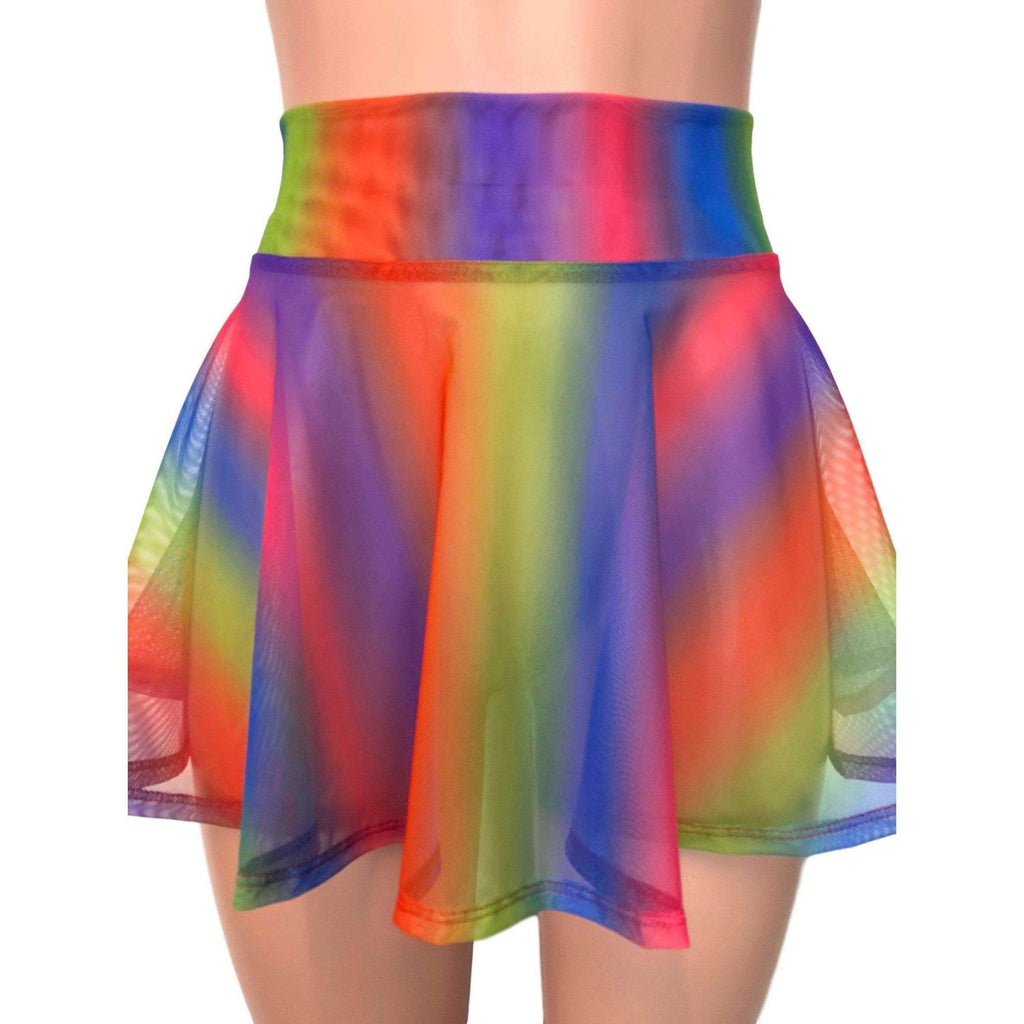 "SALE - 13"" Skater Skirt - Rainbow Mesh - Peridot Clothing"