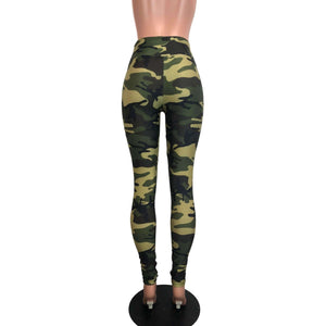SALE - Camo or Camouflage High Waisted Leggings Pants - Peridot Clothing