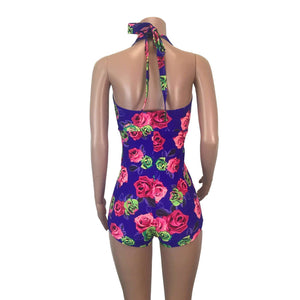 SALE - Halter Romper - Neon Rose - Peridot Clothing