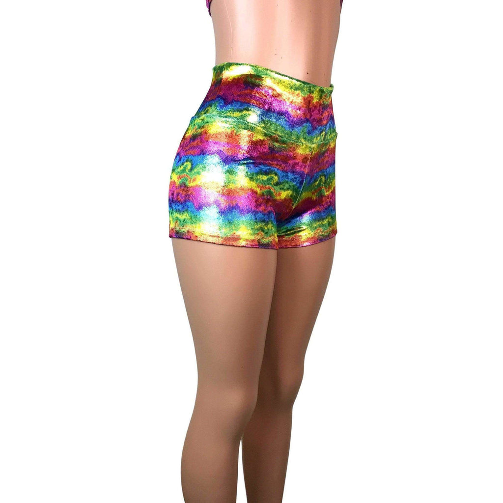 SALE - High Waisted Booty Shorts - Rainbow Metallic Velvet - Peridot Clothing