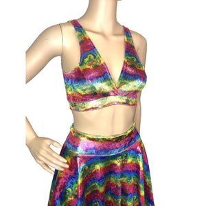 SALE - Metallic Rainbow Velvet Bralette, women's tops
