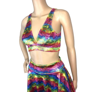 SALE - Metallic Rainbow Velvet Bralette - Peridot Clothing