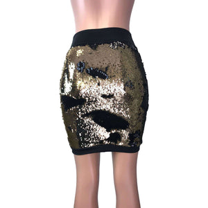 SALE - Pencil Skirt - Gold/Black Color-Changing Sequins - Peridot Clothing