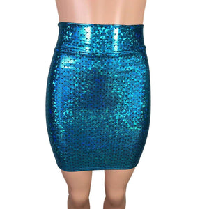 SALE - Pencil Skirt - Turquoise Mermaid Scales - Peridot Clothing