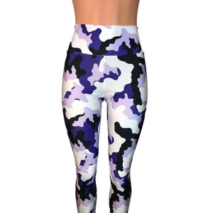 SALE - Purple, White & Black Camo Camouflage High Waist Leggings Pants - Peridot Clothing