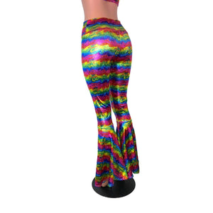 SALE - Rainbow Velvet Bell Bottoms High Waisted - Peridot Clothing