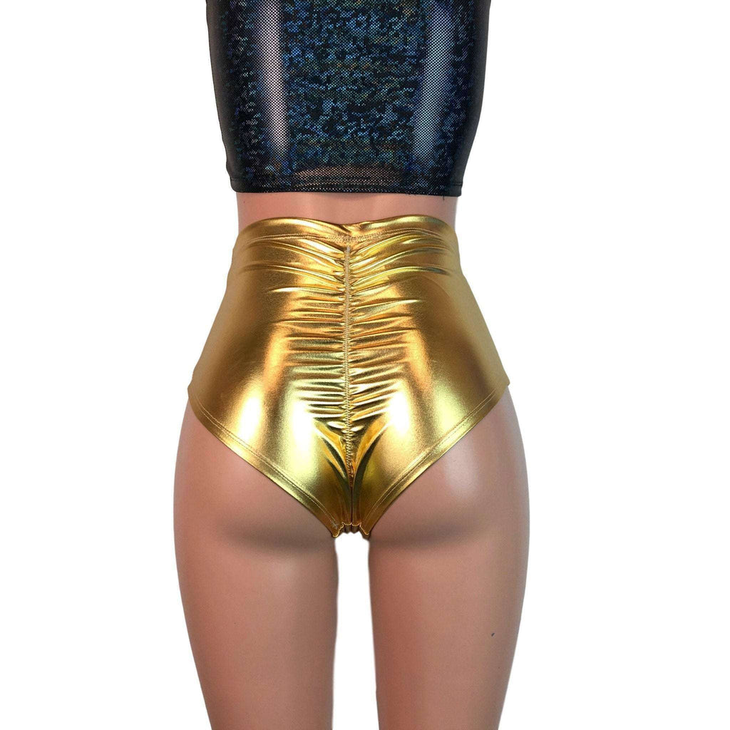SALE - Scrunch High Waist Bikini - Gold Metallic - Peridot Clothing
