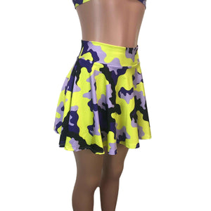 SALE - Skater Skirt - Purple/Yellow Camo, skirts